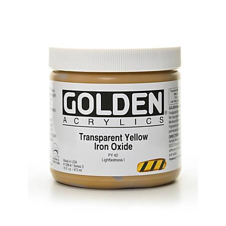 Golden Heavy Body Acrylic Paint, 16 Oz, Transparent Yellow Iron Oxide