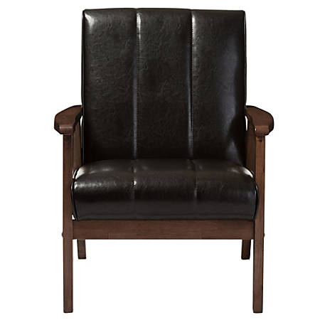 Baxton Studio Luisa Faux Leather Lounge Chair, Dark Brown/Cocoa