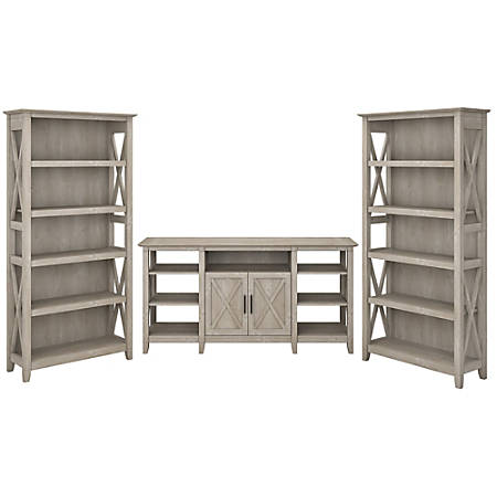 Bush Furniture Key West Tall TV Stand With Set Of 2 Bookcases, Washed Gray, Standard Delivery