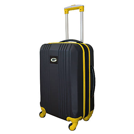 """Mojo L208 ABS Carry-On Hardcase Spinner, 21""""H x 14""""W x 9-1/2""""D, Green Bay Packers, Black/Yellow"""