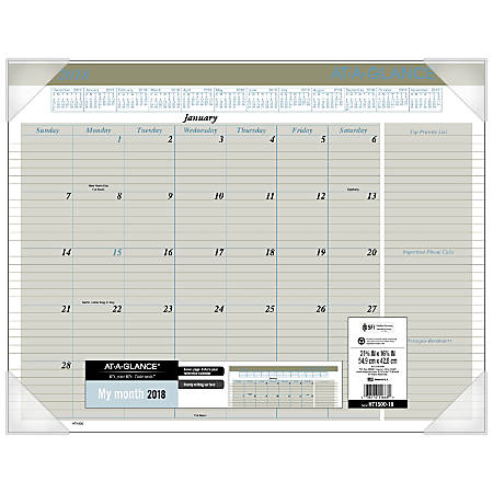 """AT-A-GLANCE® Executive Monthly Desk Pad Calendar, 22"""" x 17"""", 30% Recycled, White, January to December 2018 (HT1500-18)"""