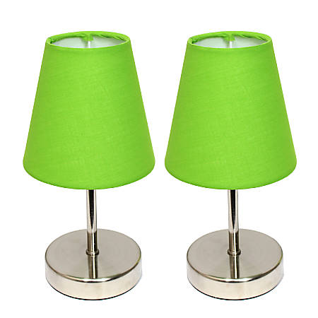 """Simple Designs Mini Basic Table Lamps, 10""""H, Green Shade/Sand Nickel Base, Set Of 2"""