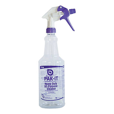 Big 3 Packaging PAK-IT Spray Bottle, Heavy-Duty All-Purpose Cleaner, 32 Oz, Purple/Clear