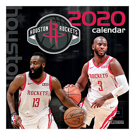 """Turner Licensing Monthly Wall Calendar, 12"""" x 12"""", Houston Rockets, 2020"""