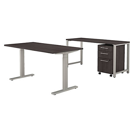 "Bush Business Furniture 400 Series 60""W x 30""D Height Adjustable Standing Desk with Credenza and Storage, Storm Gray, Standard Delivery"