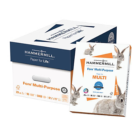 Hammermill® Fore Multipurpose Paper, Letter Size Paper, 20 Lb, White, 500 Sheets Per Ream, Case Of 10 Reams