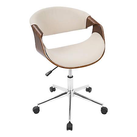 LumiSource Curvo Mid-Century Modern Mid-Back Chair, Cream/Walnut/Silver