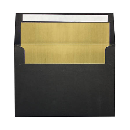 """LUX Foil-Lined Invitation Envelopes With Peel & Press Closure, A4, 4 1/4"""" x 6 1/4"""", Black/Gold, Pack Of 500"""