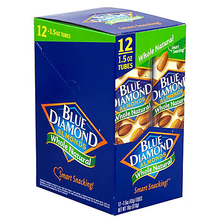 Blue Diamond Almonds, Whole Natural, 1.5 Oz, Pack Of 12 Pouches