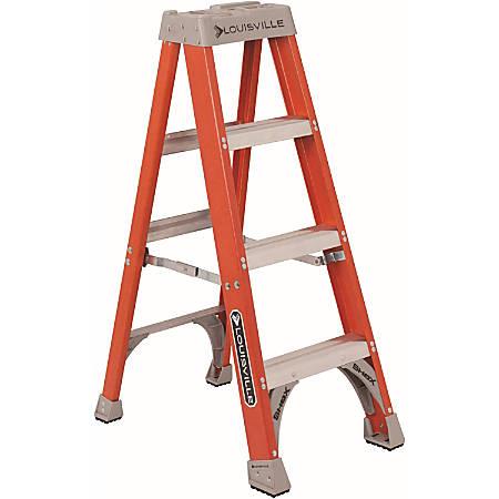 "Louisville 4' Fiberglass Step Ladder - 3 Step - 300 lb Load Capacity48"" - Orange"