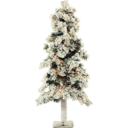 Fraser Hill Farm Artificial Snowy Alpine Tree With Clear Lights, 3'