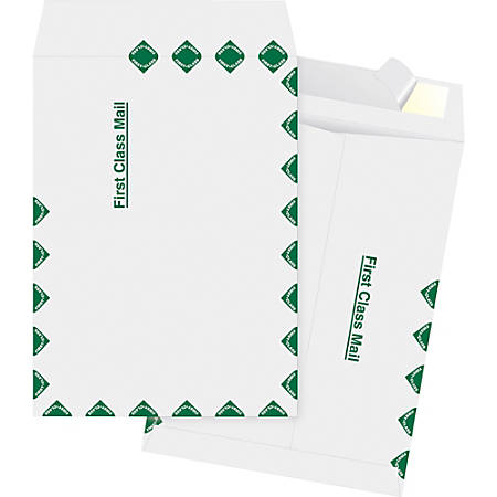 """Business Source DuPont Tyvek 1st Class Catalog Envelopes - Document - 10"""" Width x 13"""" Length - Peel & Seal - Tyvek - 100 / Box - White"""