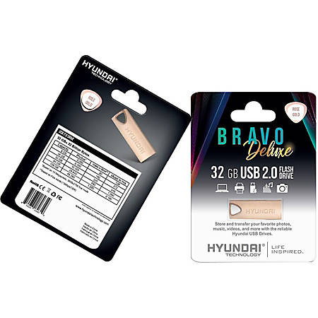 Hyundai Bravo Deluxe ROSE GOLD Keychain USB 2.0 Flash Drive 32GB Metal