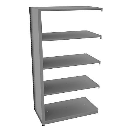 "Tennsco Capstone Steel Adjustable Add-On Shelving Unit, 5 Shelves, 88""H x 42""W x 24""D, Medium Gray"