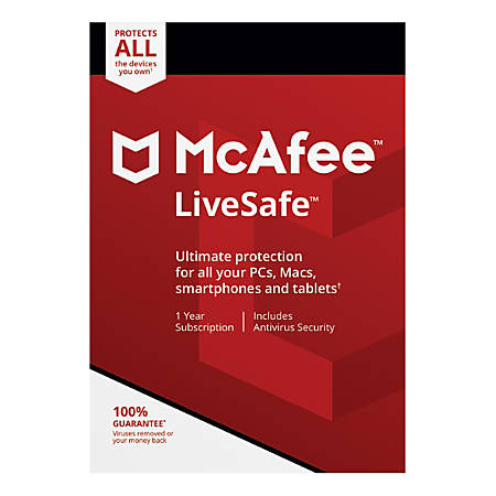 McAfee® LiveSafe™, For PC, Apple® Mac®, iOS And Android, Unlimited Devices, 1-Year Subscription, Download