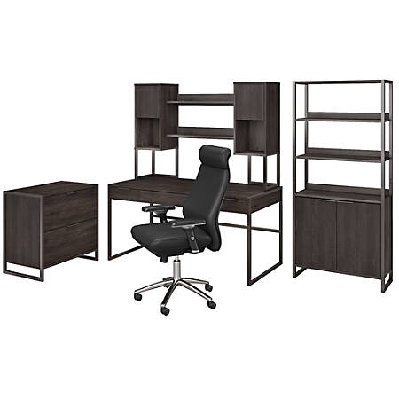 "kathy ireland® Office by Bush Business Furniture Atria 60""W Desk With Hutch, File Cabinet, Bookcase And High-Back Office Chair, Charcoal Gray, Standard Delivery"