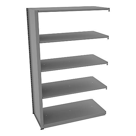 "Tennsco Capstone Steel Adjustable Add-On Shelving Unit, 5 Shelves, 88""H x 48""W x 24""D, Medium Gray"