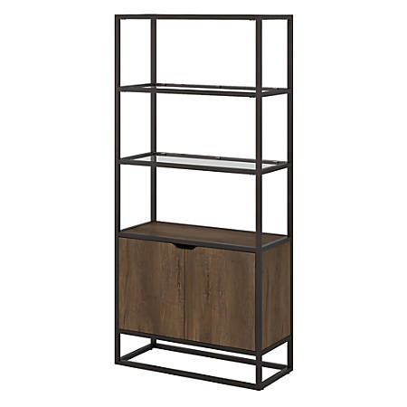 Bush Furniture Anthropology 5 Shelf Bookcase With Doors, Rustic Brown Embossed, Standard Delivery
