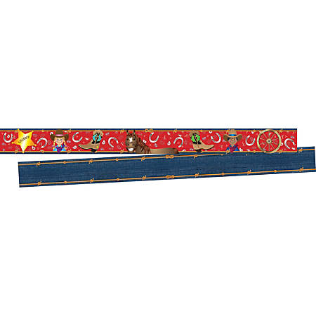 """Barker Creek Double-Sided Border, 3"""" x 35"""", Western, Pack Of 24 Strips"""