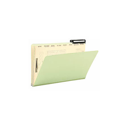 Smead® Mortgage Pressboard Folders, 2/5 Cut, Legal Size, 100% Recycled, Green/Manila, Pack Of 10