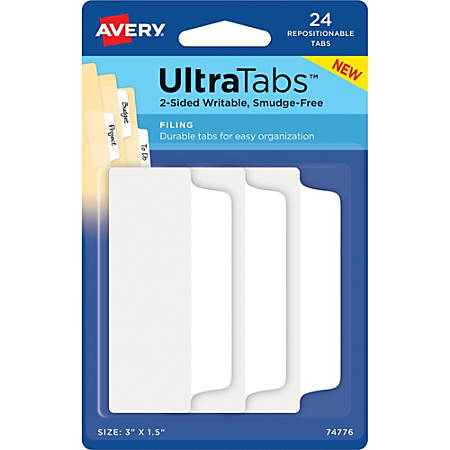 "Avery® Filing Ultra Tabs - Write-on Tab(s) - 3"" Tab Height x 1.50"" Tab Width - Self-adhesive - White Tab(s) - 24 / Pack"