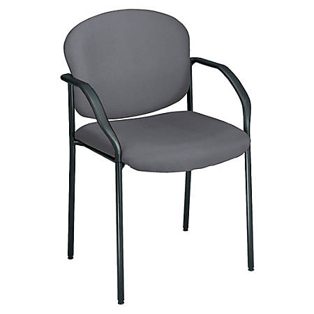 """OFM Stackable Guest Chair With Fabric Seat And Back, 35""""H x 24""""W x 19 1/2""""D, Black Frame, Gray Fabric"""