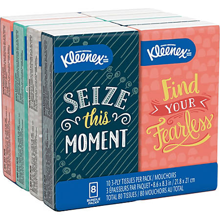 """Kleenex Go Packs Facial Tissues - 3 Ply - 8.60"""" x 8.30"""" - White - Soft, Durable, Absorbent - For Face - 10 Quantity Per Pouch - 8 / Pack"""