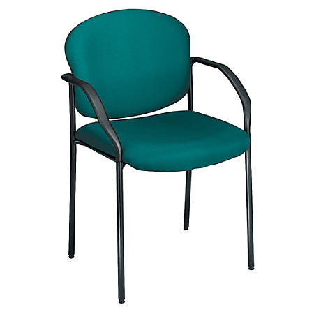"""OFM Stackable Guest Chair With Fabric Seat And Back, 35""""H x 24""""W x 19 1/2""""D, Black Frame, Teal Fabric"""