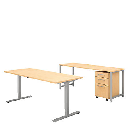 """Bush Business Furniture 400 Series 72""""W x 30""""D Height Adjustable Standing Desk With Credenza And Storage, Natural Maple, Premium Installation"""
