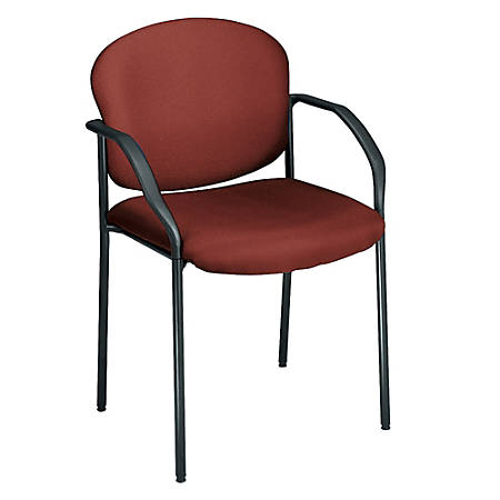 "OFM Stackable Guest Chair With Fabric Seat And Back, 35""H x 24""W x 19 1/2""D, Black Frame, Wine Fabric"
