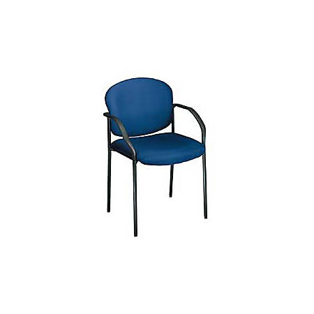"OFM Stackable Guest Chair With Fabric Seat And Back, 35""H x 24""W x 19 1/2""D, Black Frame, Navy Blue Fabric"