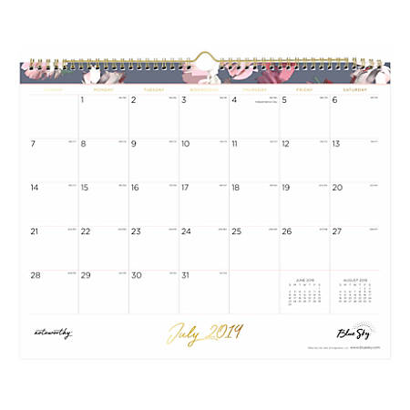 "Noteworthy Academic Monthly Wall Calendar, 15"" x 12"", Leah, July 2019 to June 2020"
