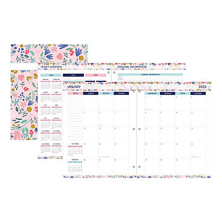 """Office Depot® Brand Monthly Planner, 8-1/4"""" x 10-1/4"""", Flowers, January to December 2020"""