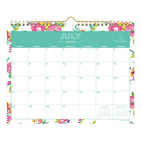 """Day Designer Monthly Academic Wall Calendar, 11"""" x 8-3/4"""", Peyton White, July 2019 to June 2020"""
