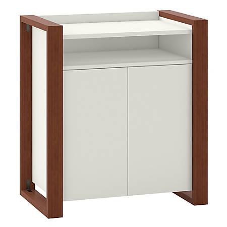kathy ireland® Home by Bush Furniture Voss 2 Door Accent Storage Cabinet, Cotton White/Serene Cherry, Standard Delivery