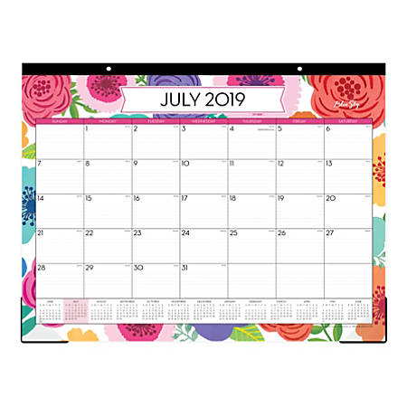 "Blue Sky™ Monthly Desk Pad, 22"" x 17"", Mahalo, July 2019 to June 2020"