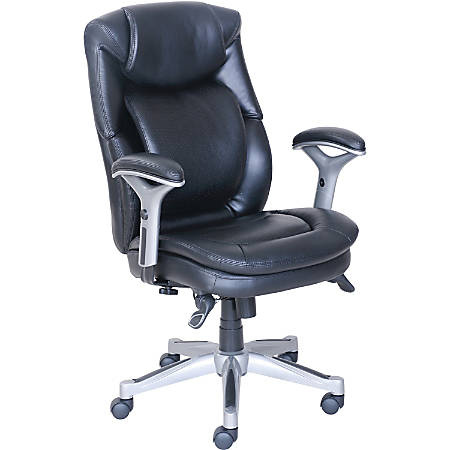 Lorell® Wellness by Design? Executive Bonded Leather Chair, Black