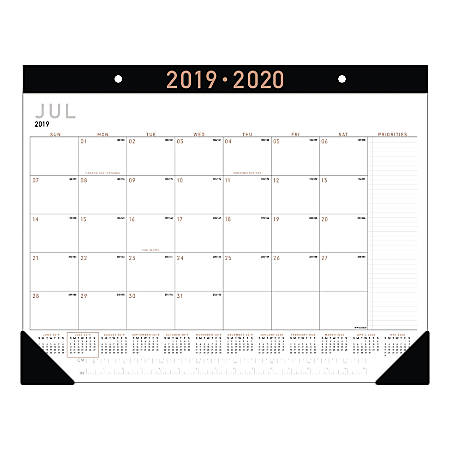 "AT-A-GLANCE® Contemporary Monthly Academic Desk Pad Calendar, 21-3/4"" x 17"", July 2019 to June 2020"