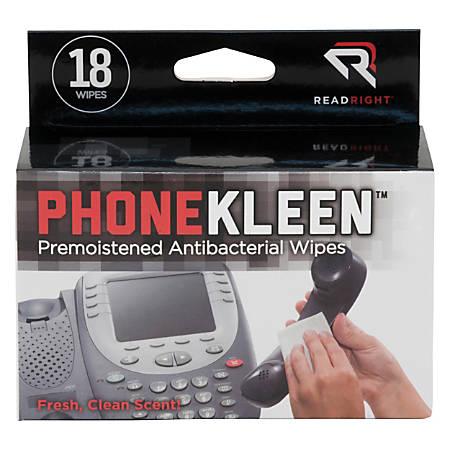 Read Right® PhoneKleen™ Premoistened Wipes, Box Of 18