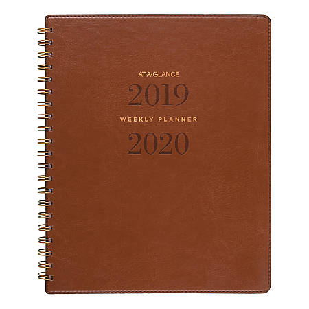 """AT-A-GLANCE® Signature Collection 13-Month Academic Weekly/Monthly Planner, 8-3/8"""" x 11"""", Distressed Brown, July 2019 to July 2020"""