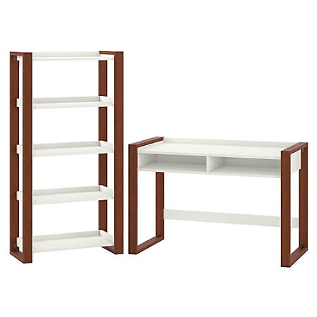 "kathy ireland® Home by Bush Furniture Voss 48"" Writing Desk With 5-Shelf Etagere Bookcase, Cotton White/Serene Cherry, Standard Delivery"