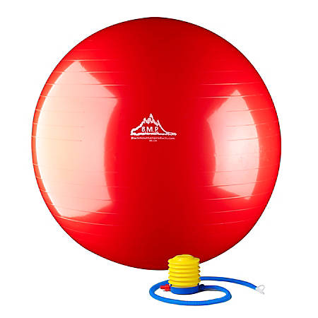 Black Mountain Products Static Strength Exercise Stability Ball With Pump, 65 cm, Red