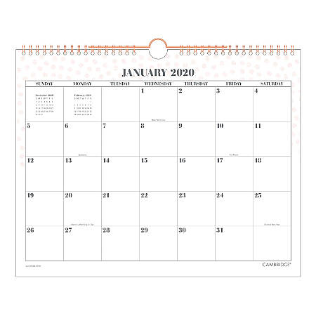 """Cambridge® WorkStyle Monthly Wall Calendar, 15"""" x 12"""", Pink/White, January To December 2020, W1280-707-27"""