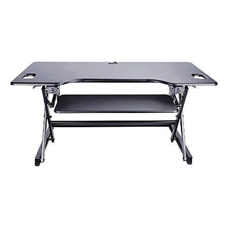 "Lorell™ XL Height-Adjustable Desk Riser, 46"" x 24"", Black"
