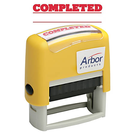 "SKILCRAFT® Pre-Inked Message Stamp, ""COMPLETED"", Red Ink"