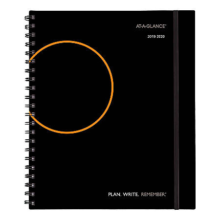 """AT-A-GLANCE® Plan.Write.Remember. Academic Weekly/Monthly Appointment Book/Planner, 8-3/4"""" x 11"""", Black, July 2019 to June 2020"""