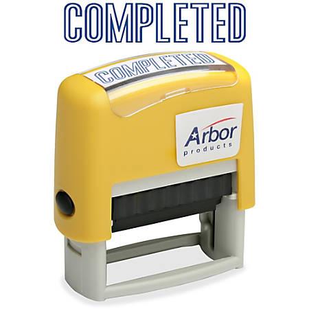 """SKILCRAFT® Pre-Inked Message Stamp, """"COMPLETED"""", Blue Ink"""