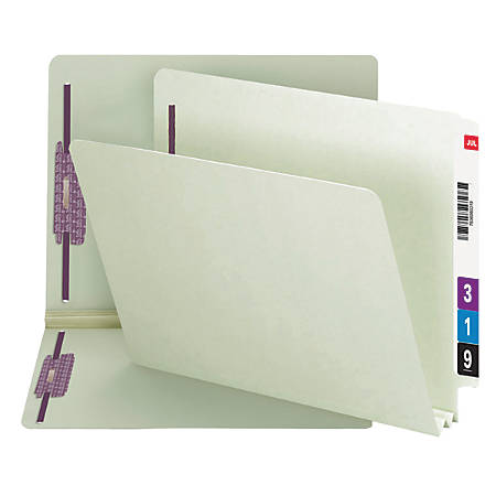 """Smead® Pressboard End-Tab Folders With SafeSHIELD Fastener, Straight Cut, 2"""" Expansion, Letter Size, 60% Recycled, Gray/Green, Pack Of 25"""