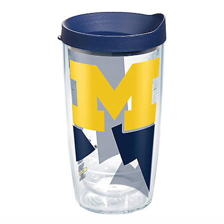Tervis Genuine NCAA Tumbler With Lid, Michigan Wolverines, 16 Oz, Clear