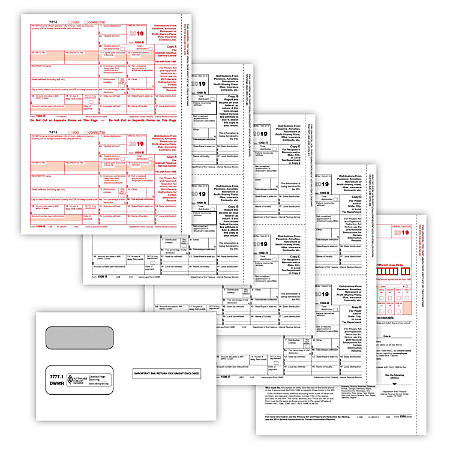 """ComplyRight™ 1099-R Tax Forms, With Envelopes, 4-Part, 8-1/2"""" x 11"""", Pack Of 100 Forms And Envelopes"""